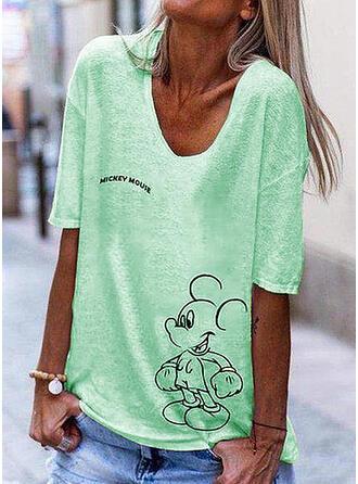 Print Letter V-Neck 1/2 Sleeves T-shirts