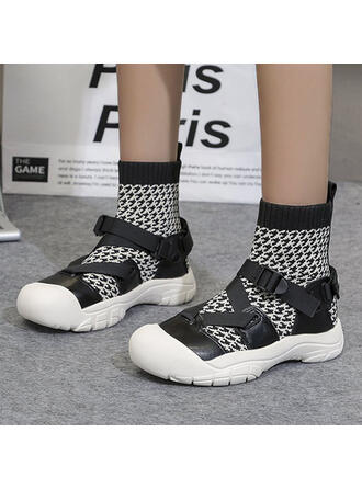 Women's Flying Weave Low Heel Mid-Calf Boots Round Toe shoes