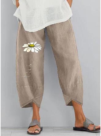 Druck Taschen Shirred Übergröße Midi- Boho Lässige Kleidung Blumen Hosen