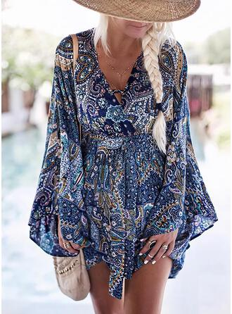 Print Long Sleeves/Flare Sleeves A-line Above Knee Casual/Boho/Vacation Wrap/Skater Dresses