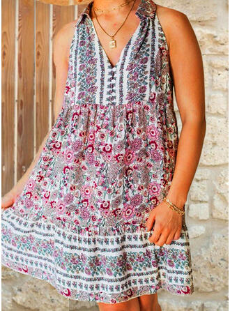 Print/Floral Sleeveless Shift Above Knee Vacation Dresses