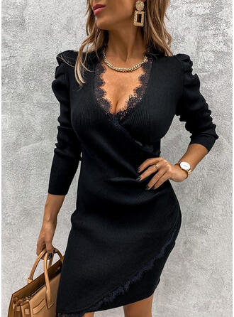 Lace/Solid Long Sleeves/Puff Sleeves Bodycon Above Knee Little Black/Party/Elegant Sweater Dresses