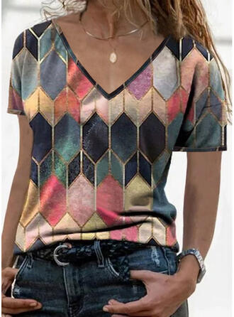 Geometric Print V-Neck Short Sleeves T-shirts