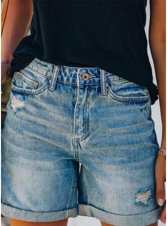 Taschen Shirred Über dem Knie Lässige Kleidung Sexy Dünn Kurze Hose