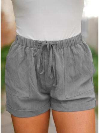 Einfarbig Taschen Übergröße Über dem Knie Boho Lässige Kleidung Kurze Hose