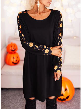 Halloween Print Long Sleeves Shift Above Knee Casual Tunic Dresses