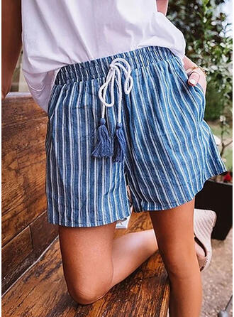 Striped Plus Size Casual Striped Shorts
