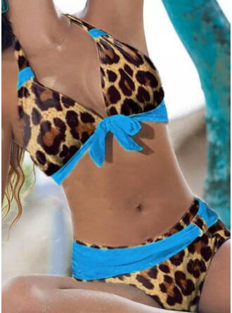 Leopard Push Up V-Neck Strapless Sexy Casual Bikinis Swimsuits