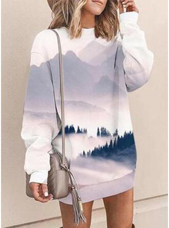 Druck Lange Ärmel Shift Über dem Knie Freizeit Sweatshirt Kleider