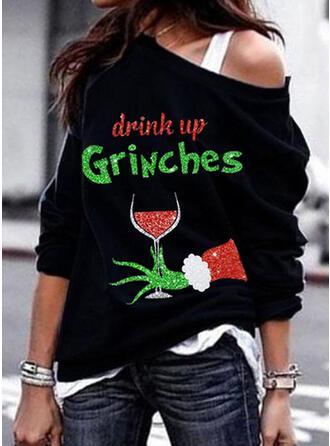 Drucken Figur One Shoulder Lange Ärmel Weihnachts-Sweatshirt