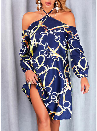 Print Long Sleeves Cold Shoulder Sleeve Shift Above Knee Casual Tunic Dresses
