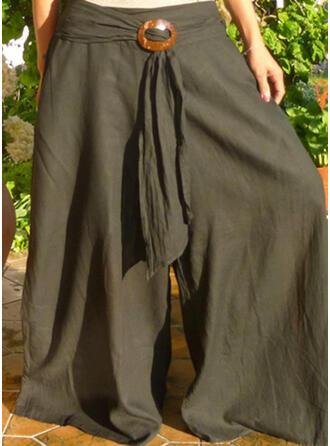 Einfarbig Shirred Übergröße Elegant Jahrgang Lounge Pants