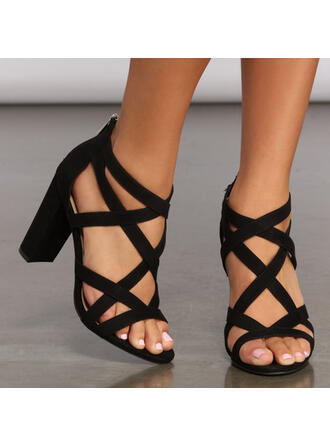 Women's Leatherette Chunky Heel Sandals Peep Toe With Zipper Hollow-out Bandage shoes