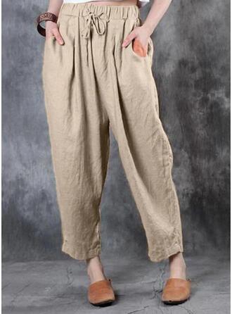 Einfarbig Shirred Übergröße Kordelzug Lässige Kleidung Jahrgang Lounge Pants