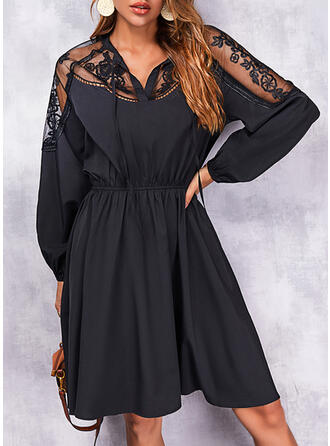 Solid Lace Long Sleeves A-line Knee Length Little Black/Casual Skater Dresses