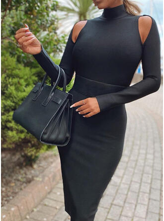 Solid/Backless Long Sleeves Bodycon Knee Length Little Black/Sexy Pencil Dresses
