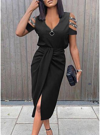 Solid Sequins Short Sleeves Sheath Knee Length Little Black/Elegant Dresses