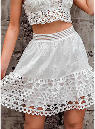 Cotton Blends Plain Lace Above Knee A-Line Skirts