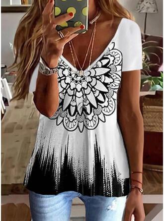 Gradient Print V-Neck Short Sleeves T-shirts