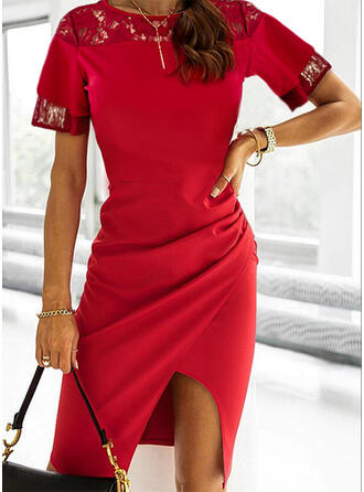 Solid Lace Short Sleeves Sheath Knee Length Party/Elegant Dresses