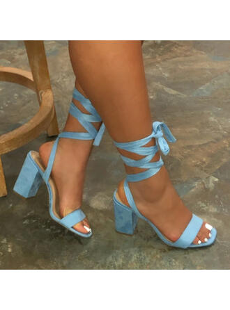 Women's Leatherette Chunky Heel Sandals Peep Toe With Lace-up Solid Color shoes