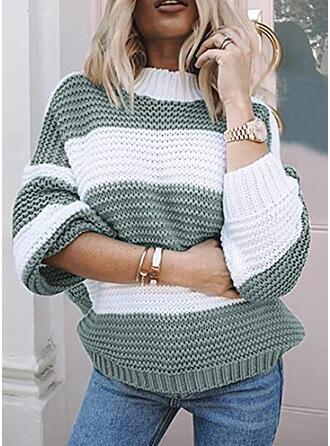 Geblockte Farben Stehkragen Freizeit Pullover
