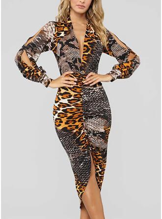 Leopard Lange Ärmel/Kalte Schulter Ärmel Figurbetont Asymmetrisch Freizeit Bleistift Kleider