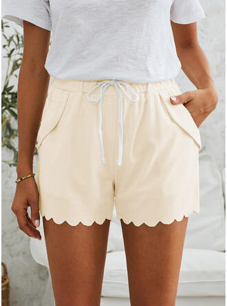Solid Pockets Casual Shorts