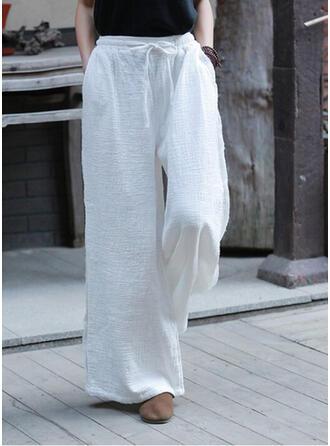 Einfarbig Kordelzug Boho Lässige Kleidung Elegant Lounge Pants