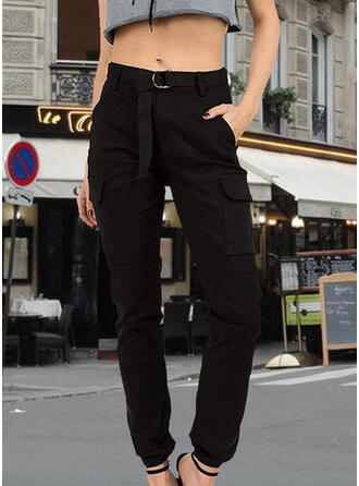 Solid Plus Size Casual Long Pants