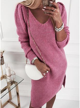 Einfarbig Lange Ärmel Shift Knielang Freizeit Pullover Kleider