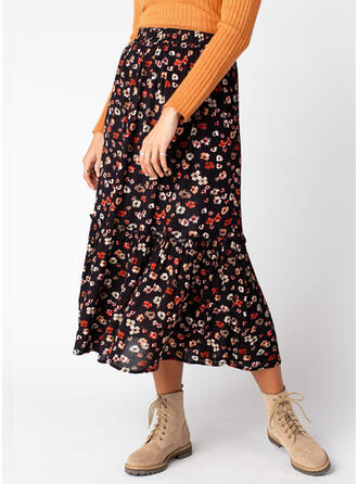 Chiffon Print Mid-Calf Flared Skirts
