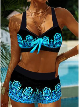 Splice color Strap V-Neck Retro Boho Bikinis Swimsuits