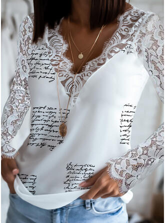Print Lace Letter V-Neck Long Sleeves Elegant Blouses