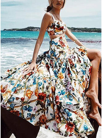 Polyester Print Floral Floor Length High-Slit Skirts