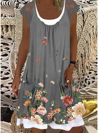 Lace/Print/Floral Cap Sleeve Shift Knee Length Casual Dresses