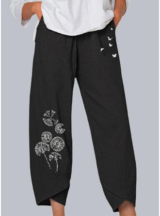 Print Pockets Plus Size Casual Plain Lounge Pants