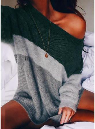 Geblockte Farben One-Shoulder Freizeit Pulloverkleid