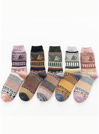 Blumen/Geometrische drucken/Bunt Komfortabel/Crew Socks Socken (Satz von 5 Paaren)