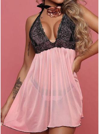 Polyester Spandex Lace Deep V Sexy V Neck Alluring Slip Night Dress