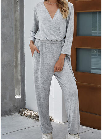 Einfarbig V-Ausschnitt Lange Ärmel Lässige Kleidung Overall