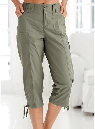 Solid Drawstring Casual Vintage Pants