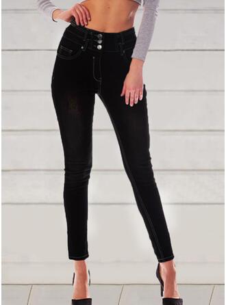 Einfarbig Shirred Elegant Jahrgang Denim Jeans