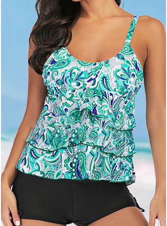 Print Strap U-Neck Fashionable Casual Tankinis Swimsuits