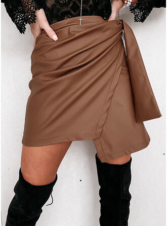 Leather/PU Plain Above Knee A-Line Skirts Asymmetrical