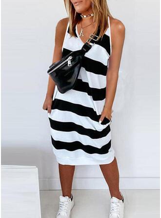 Striped Sleeveless Shift Tank Casual Midi Dresses