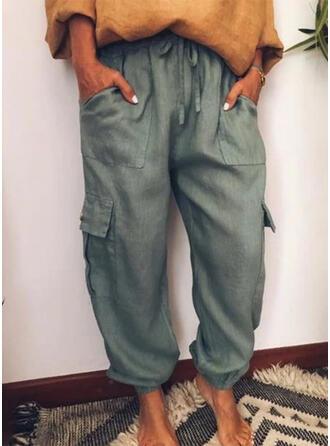 Taschen Shirred Übergröße Lange Lässige Kleidung Sportlich Hosen