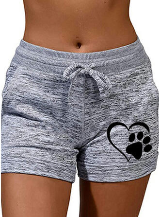 Animal Print Plus Size Casual Sporty Shorts
