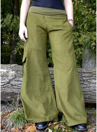Einfarbig Taschen Übergröße Lässige Kleidung Stammes Jahrgang Lounge Pants
