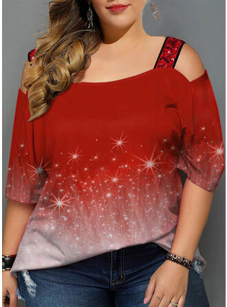 Print Cold Shoulder 3/4 Sleeves Casual T-shirt